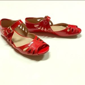 Red Patent Leather Sandal Flats